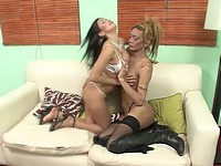 Sexy Blond TS Fucks Her Brunette Girlfriend