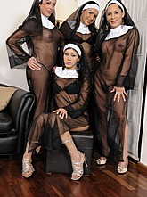 Four Shemale Nuns Fuck a Girl